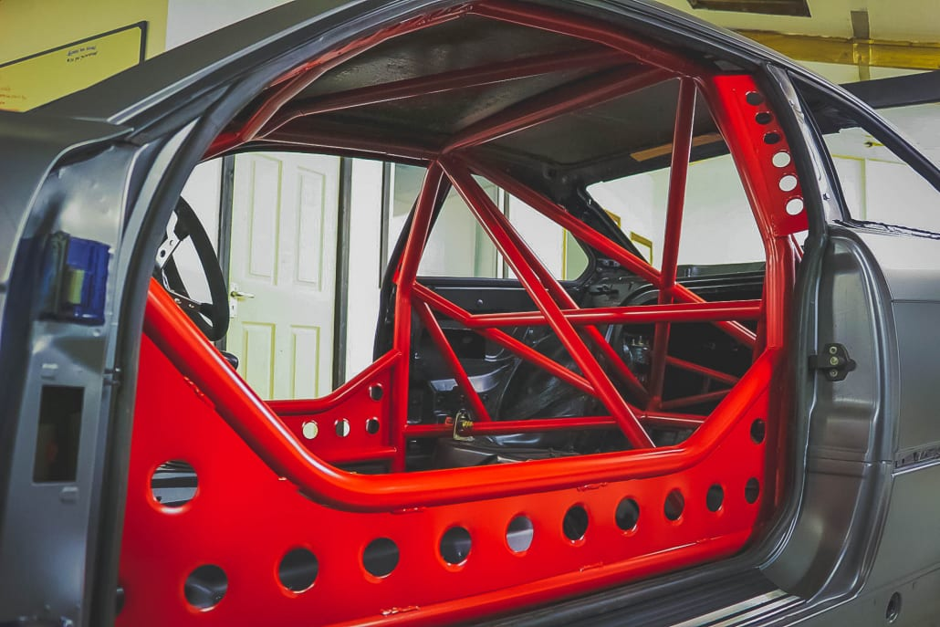 BMW E36 328i Track Car With Red Sparco Roll Cage With Gusseting