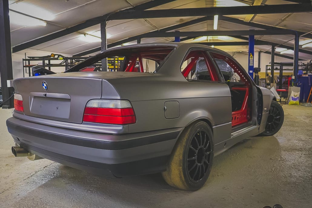 BMW E36 Coupe Track Car With Red Roll Cage And Slick Tyres