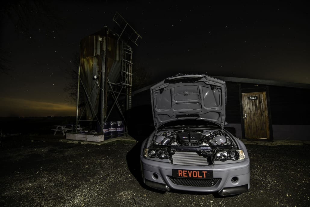 BMW E46 M3 With M5 V10 Engine Outside Car Tuner Revolt Autoworks